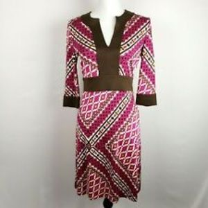 Tory Burch Dresses - Tory Burch Dress Stretch Silk Agatha Brown Printed